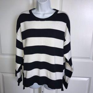Michael Kors Navy White Striped Sweater XL
